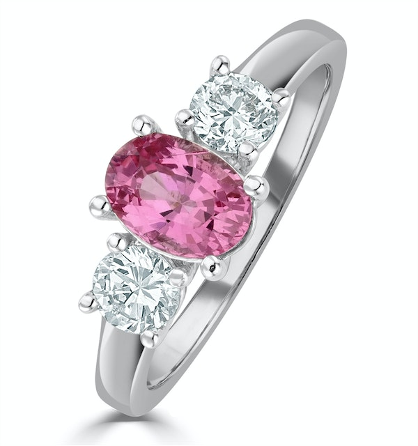 18K White Gold 0.50ct H/Si Diamond and 1.00ct Pink Sapphire Ring - image 1