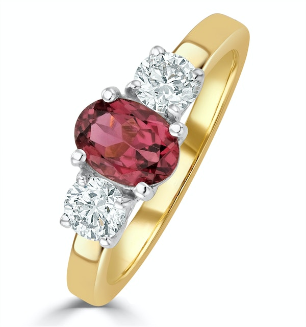 Pink Tourmaline 0.80CT and Lab Diamonds G/Vs Ring in 18K Gold - FET23 - image 1