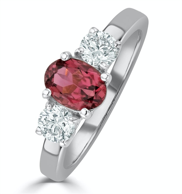 Pink Tourmaline 0.80CT  and Diamond Ring in 18K White Gold - FET23 - image 1