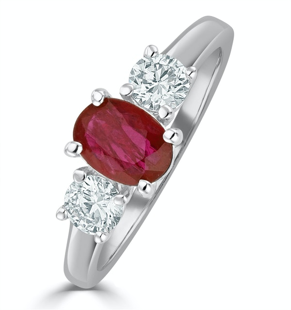 18K White Gold 0.50CT H/SI Diamond and 1.15CT Ruby Ring - image 1