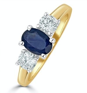 Sapphire 0.80ct And Lab Diamonds G/Vs 0.50ct 18K Gold Ring FET23-U