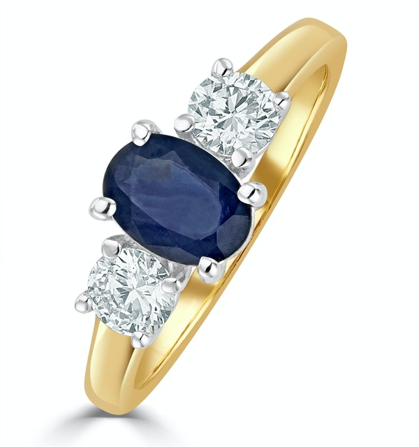 Sapphire 0.80ct And Diamond 0.50ct 18K Gold Ring  FET23-U - image 1