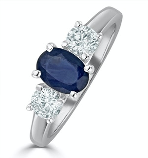 Sapphire 0.80ct And Diamond 0.50ct 18K White Gold Ring FET23-UY