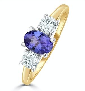 Tanzanite 7 x 5mm And Lab Diamonds G/Vs 18K Gold Ring FET23-V