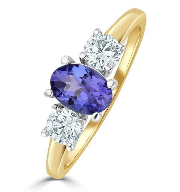 Tanzanite 7 x 5mm And Lab Diamonds G/Vs 18K Gold Ring FET23-V - image 1