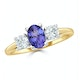 Tanzanite 7 x 5mm And Lab Diamonds G/Vs 18K Gold Ring FET23-V - image 2