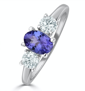 Tanzanite 7 x 5mm And Diamond 18K White Gold Ring