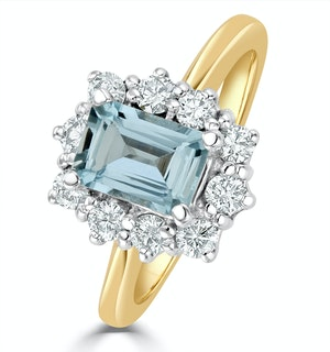 Aquamarine 0.85ct and Diamond 0.50ct 18K Gold Ring