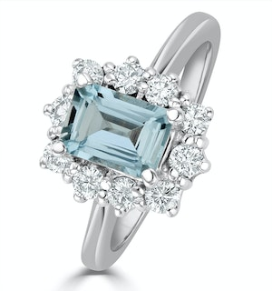 Aquamarine 0.85ct and Diamond 0.50ct 18K White Gold Ring
