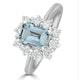 Aquamarine 0.85ct and Diamond 0.50ct 18K White Gold Ring - image 1