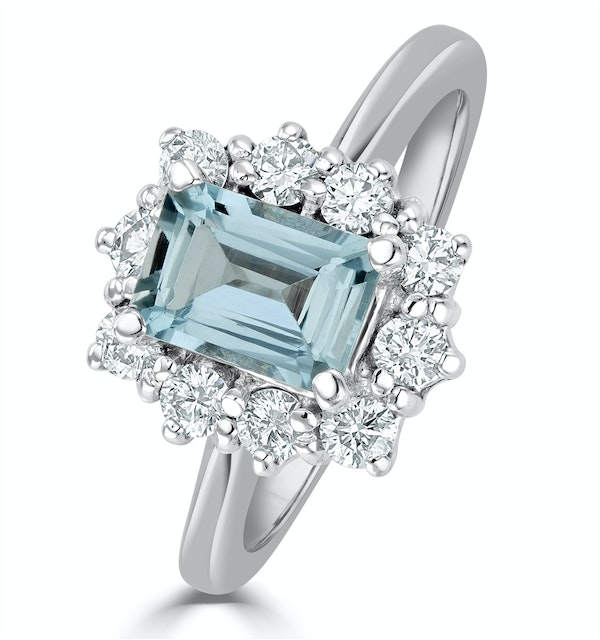 Aquamarine 0.85ct and Diamond 0.50ct 18K White Gold Ring - image 1
