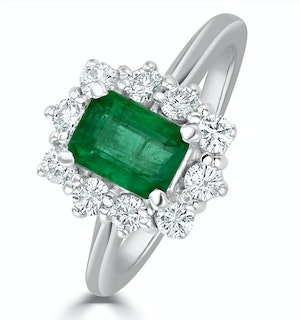 Emerald 1.00ct And Diamond 0.50ct 18K White Gold Ring