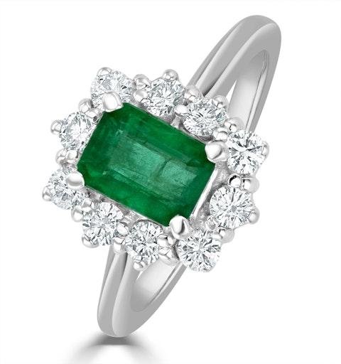 Emerald 1.00ct And Diamond 0.50ct 18K White Gold Ring - image 1