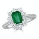 Emerald 1.00ct And Diamond 0.50ct 18K White Gold Ring - image 2