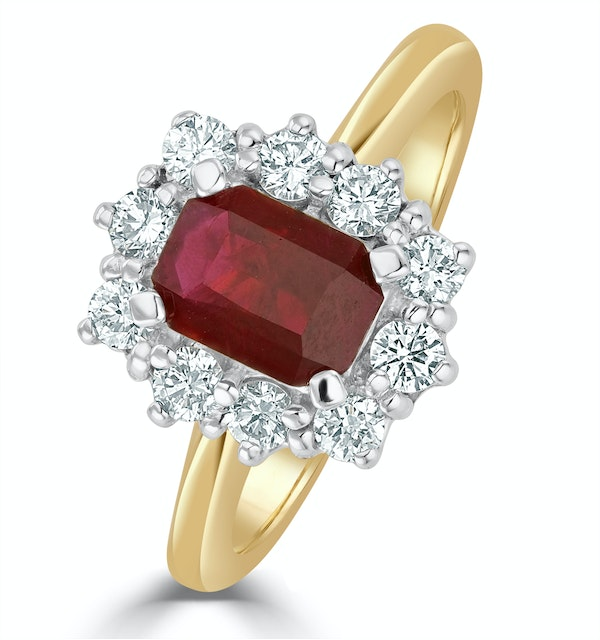 Ruby 1.10ct And Diamond 0.50ct 18K Gold Ring - image 1