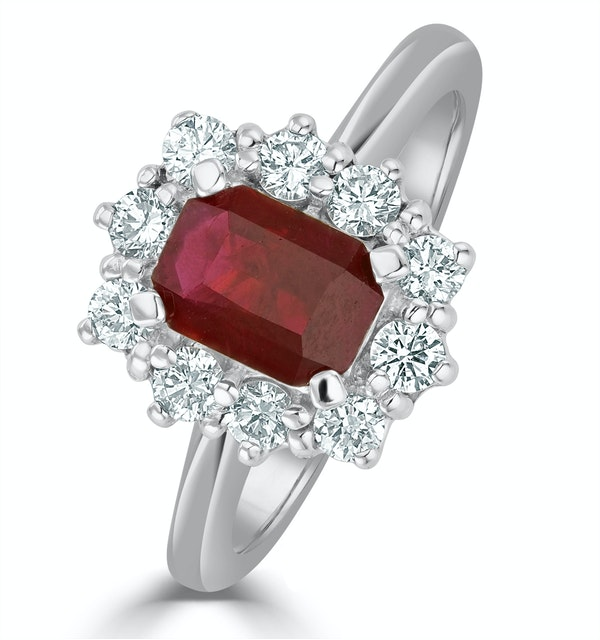 Ruby 1.10ct And Diamond 18K White Gold Ring - image 1