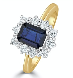 Sapphire 1.15ct And Diamond 0.50CT 18K Gold Ring