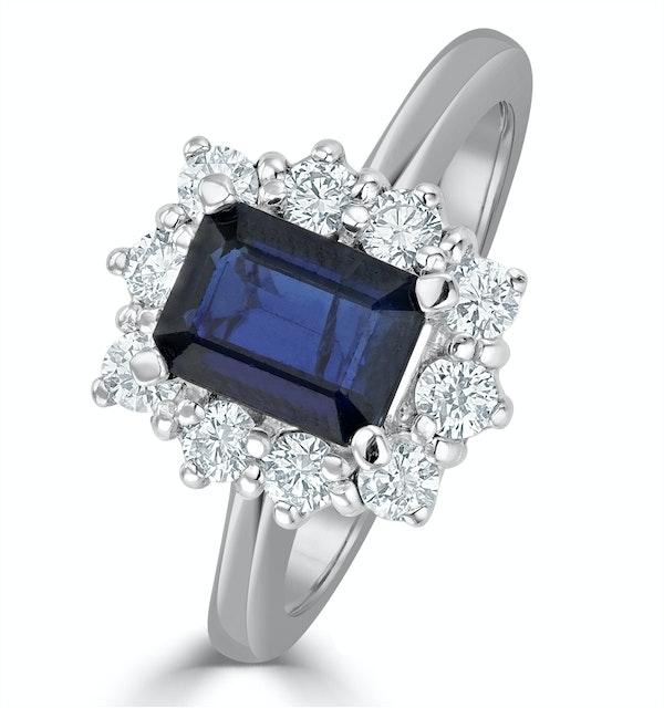 Sapphire 1.15ct And Diamond 0.50ct 18K White Gold Ring - image 1