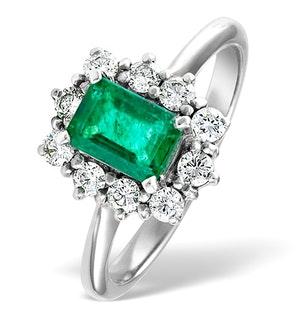 Emerald 1.00ct And Diamond 0.50ct 18K White Gold Ring