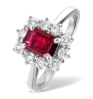Ruby 1.10ct And Diamond 18K White Gold Ring