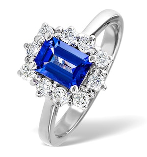 Tanzanite 7 x 5mm And 0.50ct Diamond 18K White Gold Ring