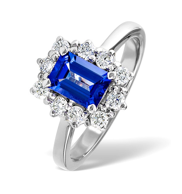 Tanzanite 7 x 5mm And 0.50ct Diamond 18K White Gold Ring - image 1