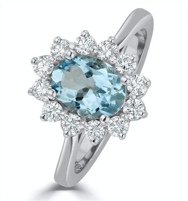 Aquamarine 1.10ct and Diamond 0.50ct 18K White Gold Ring - image 1
