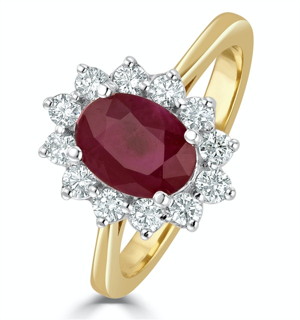 Ruby 1.35ct And Diamond 0.50ct 18K Gold Ring - image 1