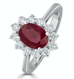 Ruby 1.35ct And Diamond 0.50ct 18K White Gold Ring