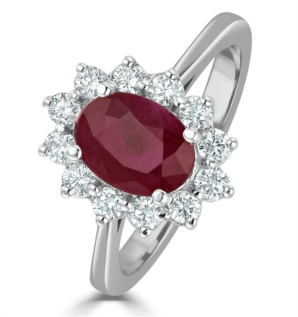 Ruby 1.35ct And Diamond 0.50ct 18K White Gold Ring - image 1