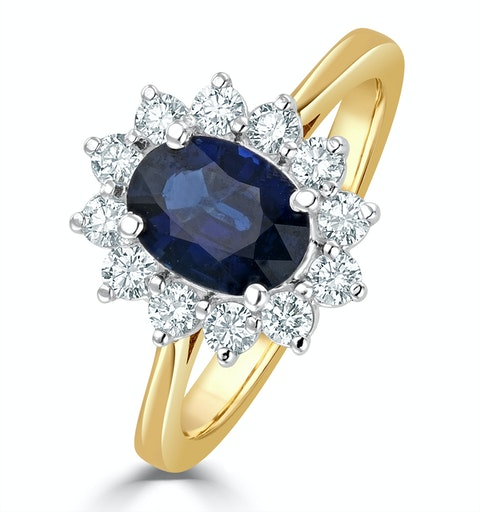 Sapphire 1.55ct And Diamond 0.50ct 18K Gold Ring - image 1