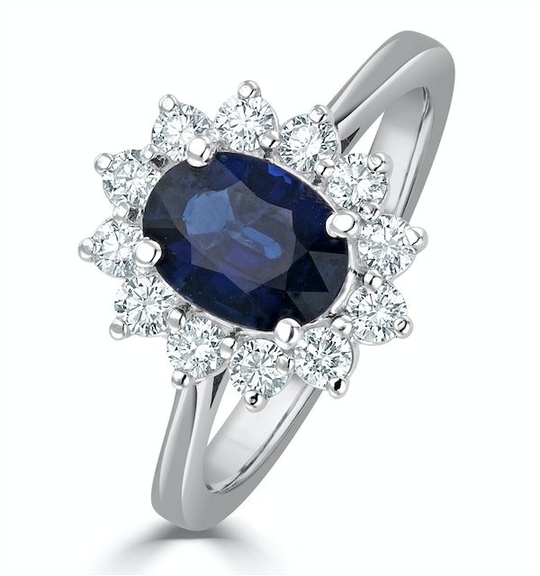 Sapphire 1.55ct And Diamond 0.50ct 18K White Gold Ring - image 1