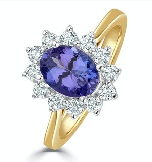 Tanzanite 8 x 6mm And Diamond 18K Gold Ring