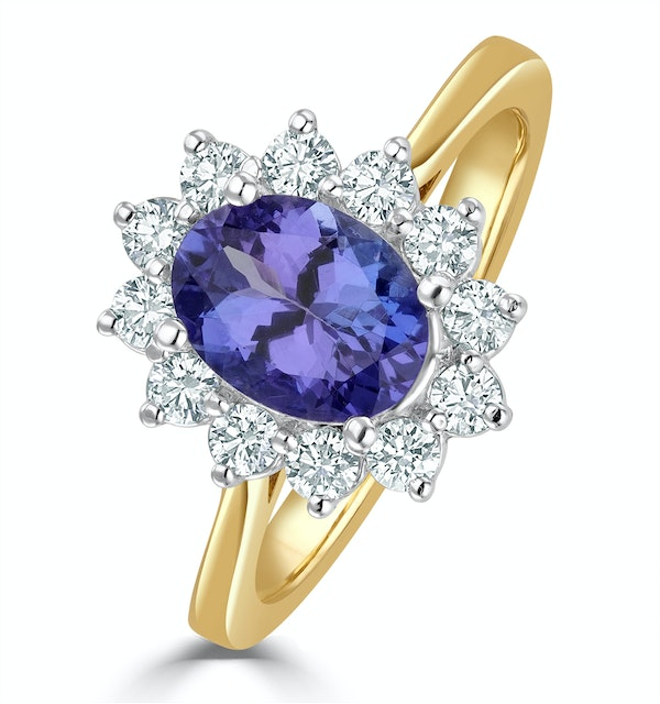 Tanzanite 8 x 6mm And Diamond 18K Gold Ring - image 1