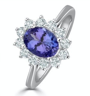 Tanzanite 8 x 6mm And 0.50ct Diamond 18K White Gold Ring