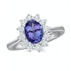 Tanzanite 8 x 6mm And 0.50ct Diamond 18K White Gold Ring - image 2