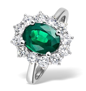 Platinum Emerald 1.95CT And Diamond Ring
