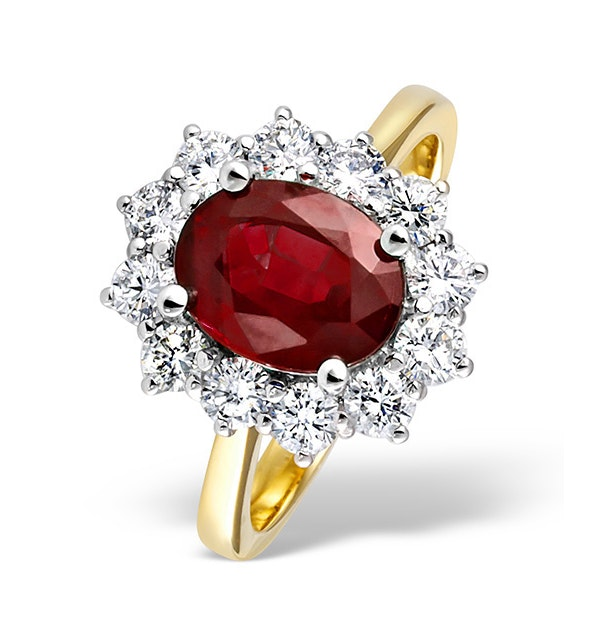 Ruby 2.40ct And Diamond 1.00ct 18K Gold Ring - image 1