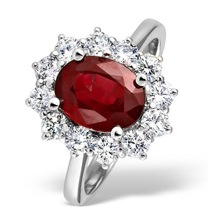 Platinum Ruby 2.40ct And Diamond 1.00ct Ring