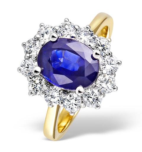 Tanzanite 9 x 7mm And Diamond 18K Gold Ring - image 1