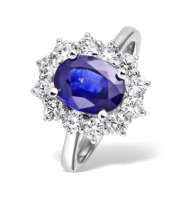 Platinum Tanzanite 9 x 7mm And 1.00ct Diamond Ring - image 1