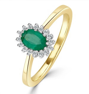 Emerald 6 x 4mm And Diamond 9K Gold Ring  A3205