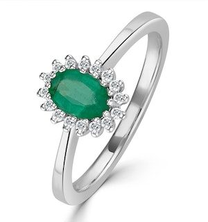Emerald 6 x 4mm And Diamond 18K White Gold Ring  FET20-GY