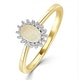 Opal 6 x 4mm And Diamond 18K Gold Ring - image 1