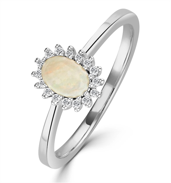 Opal 6 x 4mm And Diamond 18K White Gold Ring - image 1