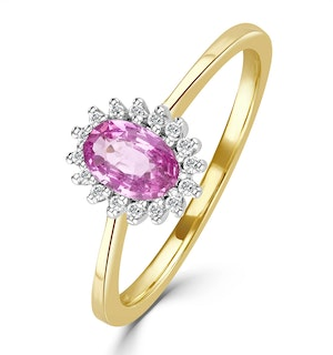 18K Gold Diamond and Oval Pink Sapphire Ring 0.08ct