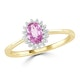 18K Gold Diamond and Oval Pink Sapphire Ring 0.08ct - image 2