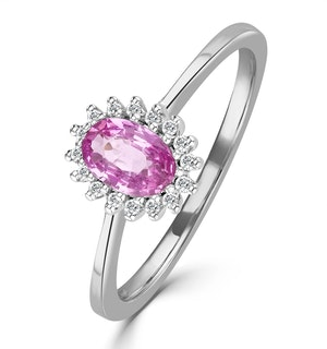 18K White Gold Diamond and Pink Sapphire Ring 0.08ct Fet20-Ruy