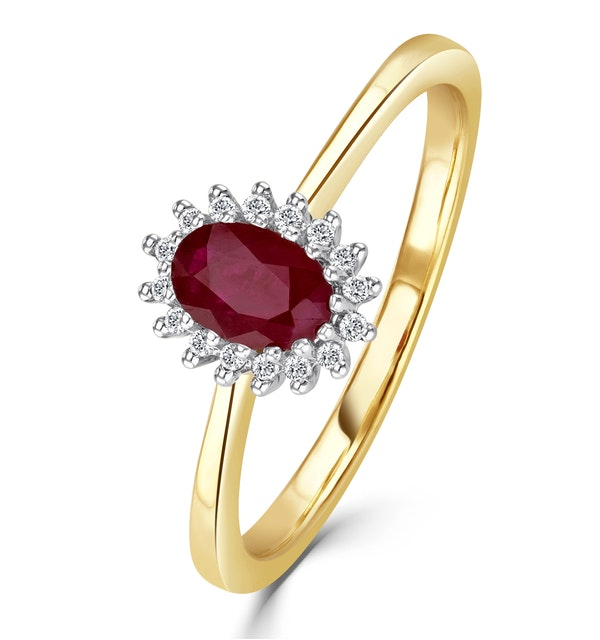 Ruby 6 x 4mm And Diamond 18K Gold Ring - image 1