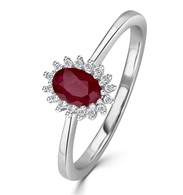 Ruby 6 x 4mm And Diamond 18K White Gold Ring - image 1